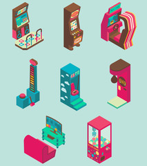Arcade game machine icon set vector flat isometric illustration