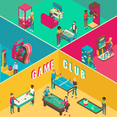 Game club cutaway interior vector flat 3d isometric illustration.