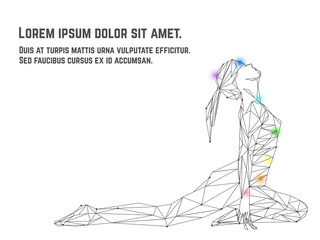 Vector illustration of woman practicing yoga asana made from polygon and dots technic. Chakra points on body
