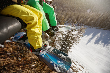 Close up of skiers legs in ski lift, concept