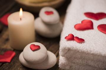 Foto op Aluminium Spa Wellness decoration on wooden table .Valentine's Day concept