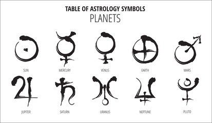 TABLE OF ASTROLOGY SYMBOLS: HAND DRAWN PLANET HIEROGLYPH