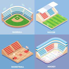 Sport stadium vector flat isometric icon set