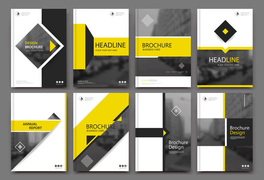Abstract binder layout. White a4 brochure cover design. Fancy info text frame. Creative ad flyer font. Title sheet model set. Modern vector front page. Elegant city banner. Yellow square figures icon