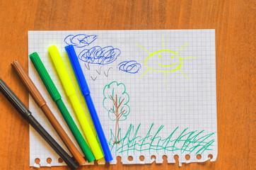Children's picture with felt-tip pens, the sun. five felt-tip pen