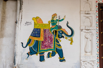 murial of a colorful Elephant in Udaipur, Rajasthan, India