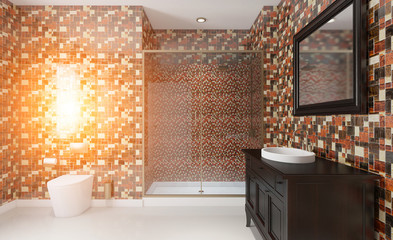 Clean and fresh bathroom with natural light. 3D rendering.. Sunset