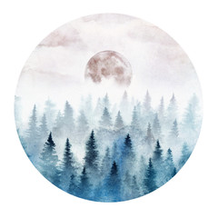 Fotorolgordijn Aquarel Natuur Landscape in a circle with the foggy forest and rising moon. Landscape painted in watercolor.