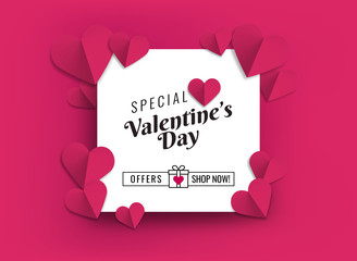 Illustration of hearts of pink color. Design for sale promotions with hearts for lovers' day. Banner, poster, flyer or card for sales on Valentine's Day.