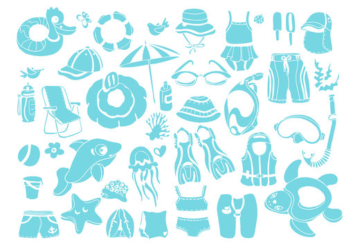 Vector set with elements for children's swimming.
