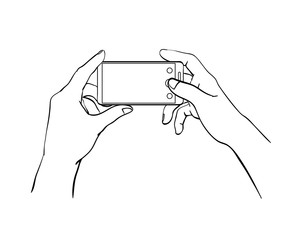 Men's Hands holding a smartphone, cell phone with empty space, make a photo or selfie. Black Lines Sketch, a man with a gadget takes pictures. Illustration for news, social networks. Isolated vector