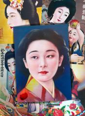 Deurstickers Imagination Collage di antiche stampe popolari giapponesi vintage con ragazze in kimono