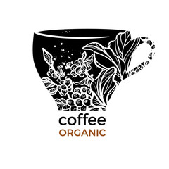Vector template with shape of cup and coffee branch