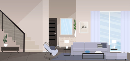 Huge modern living room with modern furniture, stairs, large window. Vector illustration.