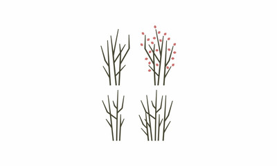 emblem symbol icon vector logo trees, trees, branches, tree trunks, leaves, monoline, silhouette