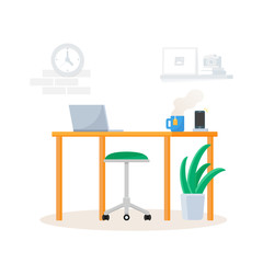 Office, empty workplace vector illustration