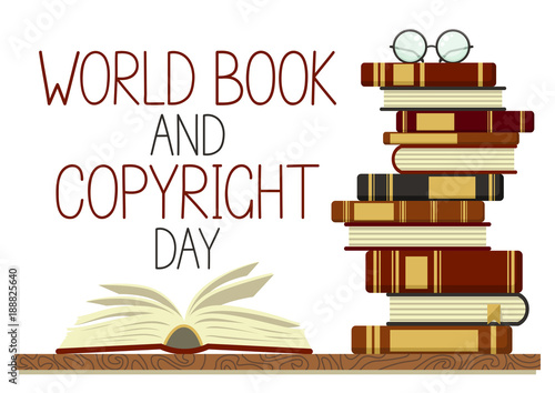 world book and copyright day stack of books with open book and