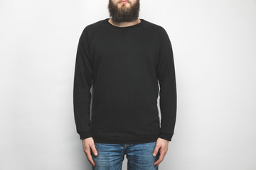 cropped shot of man in black sweatshirt isolated on white