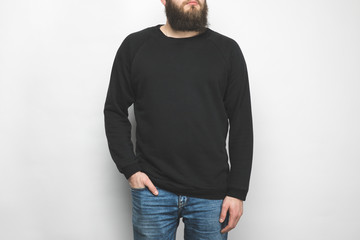 cropped shot of bearded man in black  isolated on white