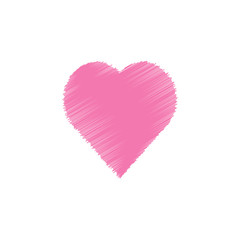 Valentine day hand drawn scribbled pink heart on white background, line art drawing icon, doodle art design, vector illustration