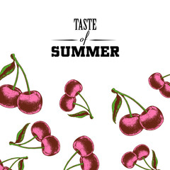 Taste of summer poster design template. Hand drawn sketch colorful cherries. Vector illustration for party, market and restaurant banners.