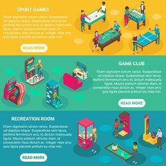 Game rooms vector flat 3d isometric illustration banners
