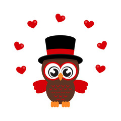cartoon cute owl in hat with heart vector image