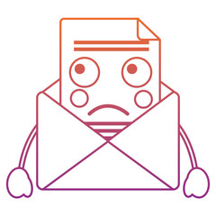 sad message envelope kawaii icon image vector illustration design  red to purple ombre line