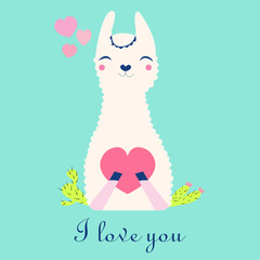 Postcard with the image of a white llama holding a heart, birthday, day of all lovers, vector illustration.
