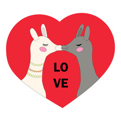 Greeting card with a picture of a white llama and a gray llama with a red heart, birthday, day of all lovers, love, vector illustration.