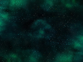 Abstract space illustration with stars and green nebula.