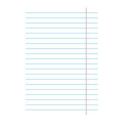 notebook lined paper sheet background- vector illustration