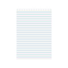 notebook lined paper sheet- vector illustration