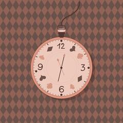 Alice in Wonderland watch label. Vector vintage clock card. Invitation sticker.