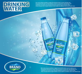 Drinking water ad vector realistic illustration