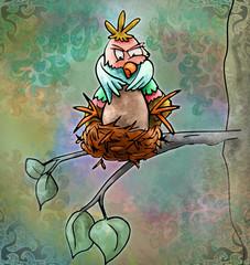 vogel zit op zijn nest