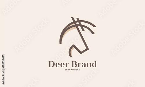Elegant Deer Head Logo Designs Vector In Line Art Style Stock Image