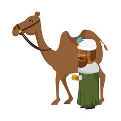 king wizard in camel avatar character vector illustration design