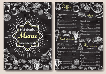Restaurant chalkboard menu design vector hand drawn illustration