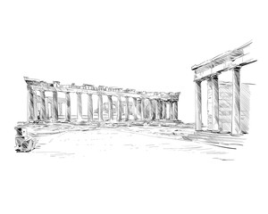 Acropolis of Athens. The Parthenon. Athens. Greece. Europe. Hand drawn sketch. Vector illustration.