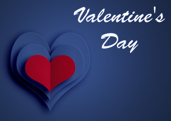 St. Valentine`s Day. Red blue hearts. Illustration on a blue background.