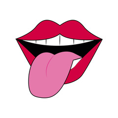 Tongue out pop art icon vector illustration graphic design