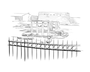 Hadrian's Library. Athens. Greece. Europe. Hand drawn sketch. Vector illustration.