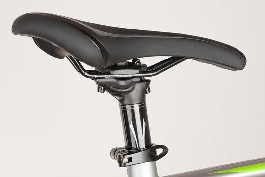 Bike saddle on white background, close up view, studio photo