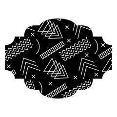 label memphis pattern decoration fashion abstract vector illustration black background