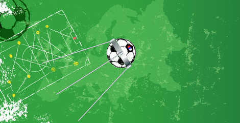 Soccer design template w.  soccer ball, vector, copy space