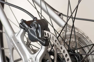 Hydraulic rear disc brake of mountain bike, close up view