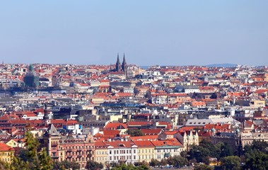 Prague City in Czech Republic with many houses and roofs