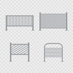 Vector set of realistic isolated barricade for decoration and covering on the transparent background. Concept of barrier, fence and security.