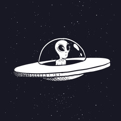 alien is sitting in a flying saucer.Hand drawn style.Space scientific vector illustration